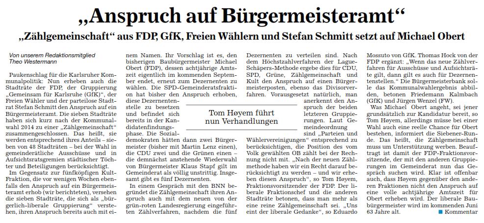 GfK für Bau-Bürgermeister Obert